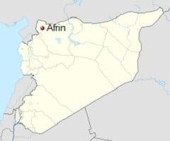 Afrin na mapie Syrii