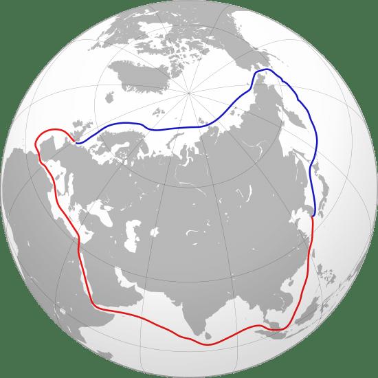 Mapa - Morska droga północna i południowa z Chin do Europy