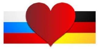Niemiecka i rosyjska flaga i serce