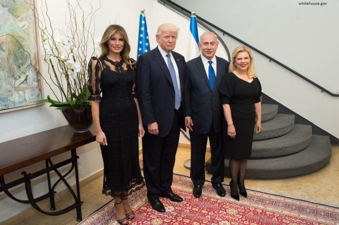 Donald Trump i Benjamin Netanjahu z żonami