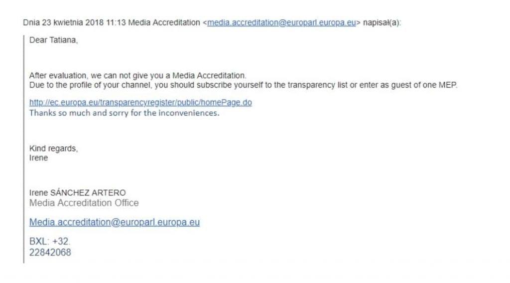Parlament Europejski - odmowa akredytacji IPPTV