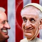 Papież Franciszek i Joe Biden - karykatura